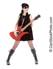 rock lady - girl with red electric guitar over white
