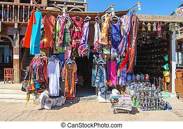 Street store in a market in Dahab, Egypt.