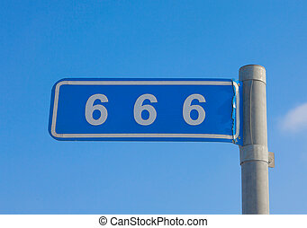 666 mile mark on a blue background