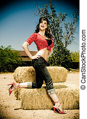 Pin-up - A young female model, photographed on a farm set.