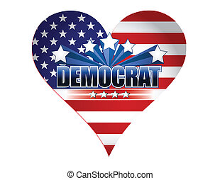 democrat party usa heart illustration design over white