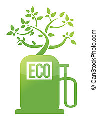 eco tree gas pump illustration design over white