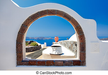 Window to Paradise - Scene from Santorini, Greece