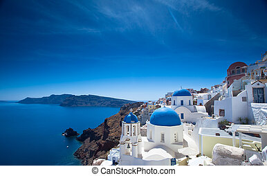 Santorini Churches - Gorgeous Santorini scene in the late...