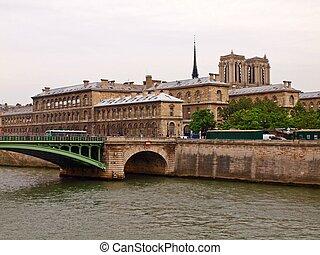 Notre Dame de Paris view from Seine river