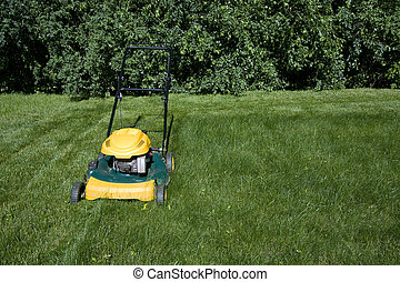 Top view of lawnmower mowing grass with space for copy -...