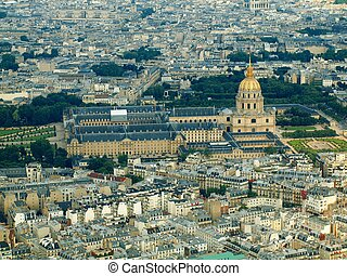 Paris city aerial view from Eiffel tower