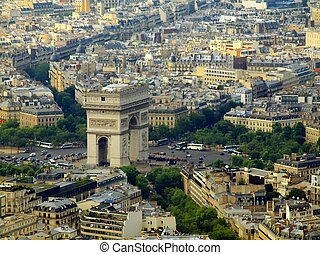 Paris city aerial view from Eiffel tower. Arch de Triumph.