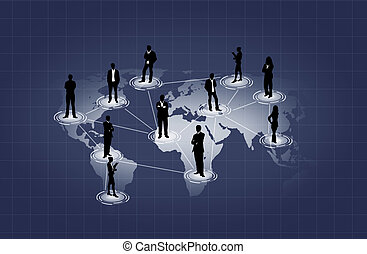 social network on world map