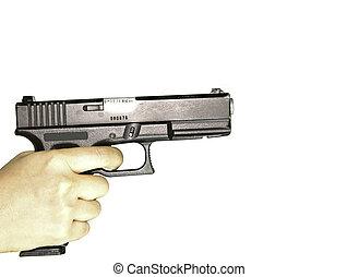 arma de fuego, mano, blanco, Plano de fondo