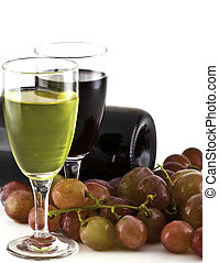 A glass of white wine, red wine and grapes on white...