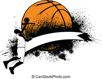 Basketball Grunge Banner - Vector illustration of a...