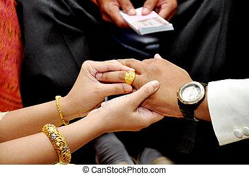 Bride wears wedding gold ring groom