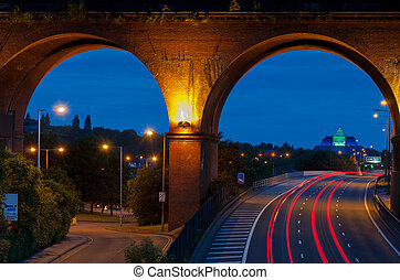 viaduct closeup stockport - Viaduct on M60 a motor near...
