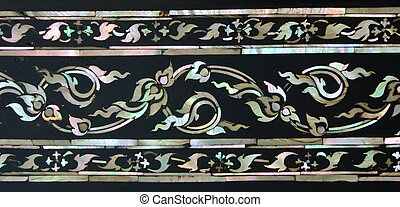 Thai floral art with mother of pearl inlay on Buddhist...