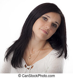 Portret of young woman  with black hair
