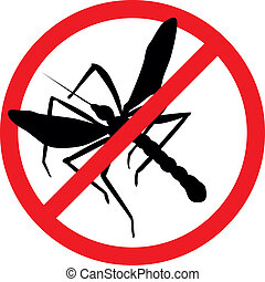 Stop pests - Mosquito vector silhouettes isolated Insect...