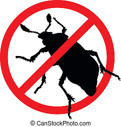 Stop pests - Beetle vector silhouette isolated Insect...