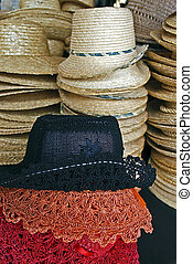 Colored straw hats