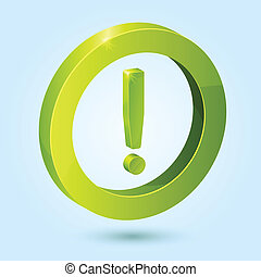 Green exclamation symbol isolated on blue background. This...