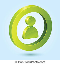Green user symbol isolated on blue background