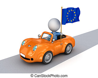 Small car with European Union flag.Isolated on white...