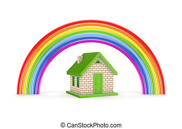 Rainbow and small house.