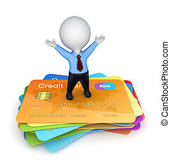 3d small person on a credit cards.Isolated on white...