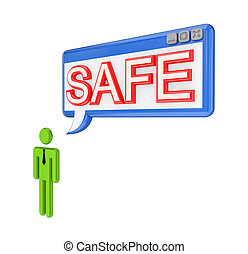 3d small person and OS window with word SAFE Isolated on...