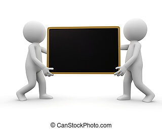 chalkboard - Two cartoon characters carrying the a board