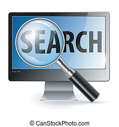 Search Concept with Magnifying Glass Loupe on Computer...