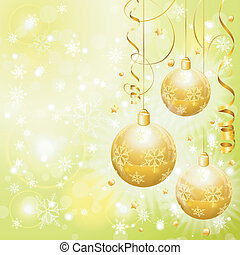 Christmas Background with Baubles, paper streamer and...