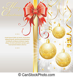 Christmas Border with Baubles and Bow, vector illustration