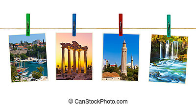 Antalya Turkey travel photography on clothespins isolated on...