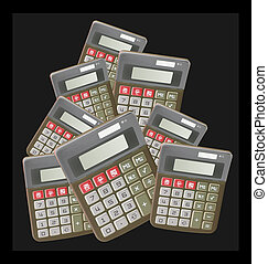 Calculators on Black Background