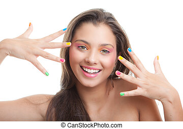 teen make- up young girl with coloured eye shadow and nails