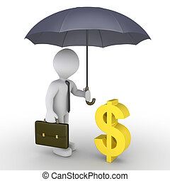 Businessman with umbrella protecting dollar - 3d businessman...
