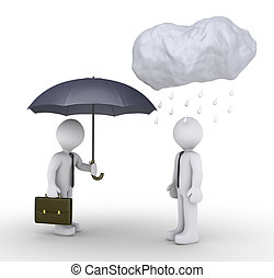 Businessman is giving umbrella to unlucky person - 3d...