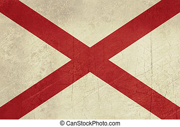Grunge Alabama state flag of America, isolated on white...