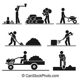 Pictograms representing people doing field and backyard hard...