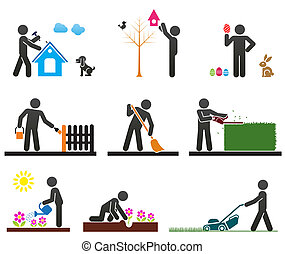 Pictograms representing people doing different backyard work