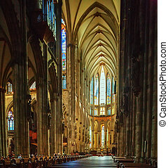 Interior of Cologne Cathedral, Germany - Interior of Gothic...