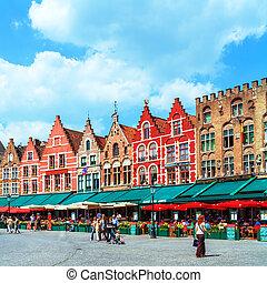 Vintage Homes on Market Square, Bruges - Market square,...