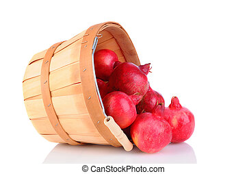 Pomegranate Basket Spill - Pomegranates spilling from a...