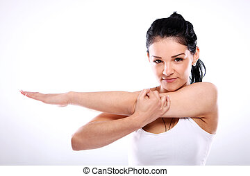 Attractive fitness girl do exercise