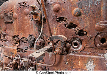 Old rusty steam locomotive boiler