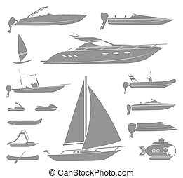 Pictogram - Set of different types of boat and submarine