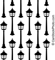 Old lantern silhouette seamless pattern vector illustration.