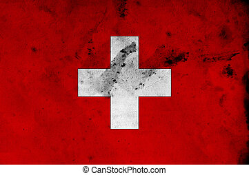 Swiss flag - Grunge flag of Swiss, image is overlaying a...