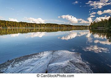Wild forrest lake sky rock - Norwegian landscape: Wild...